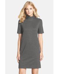 Donna Morgan | Gray Mock Neck Knit Shift Dress | Lyst