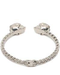 Alexander McQueen - Metallic Jewelled Twin Skull Bangle - Lyst