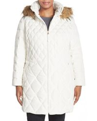 Jessica Simpson | White Faux Fur Trim Hooded Quilted Coat | Lyst