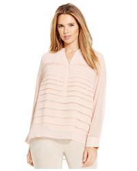 Calvin Klein Pink Plus Size Pleated Chiffon Blouse