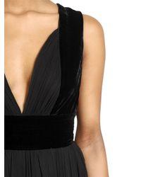 Elie Saab - Black Silk Georgette and Velvet Dress - Lyst