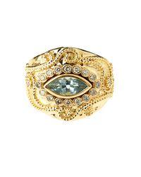 Aurelie Bidermann Cashmere Aqua Marina And Diamonds Yellow-gold Ring