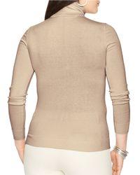 Lauren by Ralph Lauren Brown Plus Silk-cotton Turtleneck Sweater