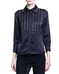 Chloé - Black Linear Pearly Detailed Satin Blouse - Lyst