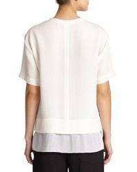 Helmut Lang White Layered Tissue Silk Top