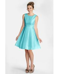 Donna Morgan | Blue Shantung Fit & Flare Dress | Lyst