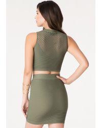 Bebe | Green Ottoman Mock Neck Top | Lyst