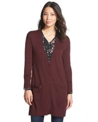 Halogen | Purple Side Zip Long V-neck Cardigan | Lyst