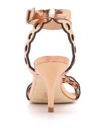 Loeffler Randall Metallic Opal Kitten Heel Sandals Copper