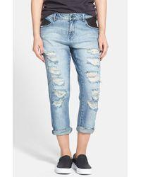 Volcom - Blue Destroyed Slouchy Boyfriend Jeans - Lyst