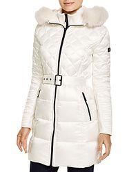BCBGMAXAZRIA White Quilted Coat With Fox Trim