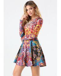 Bebe - Multicolor Print Embellished Dress - Lyst