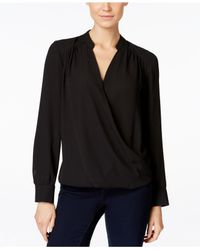 INC International Concepts | Black Long-sleeve Surplice Blouse, Only At Macy's | Lyst
