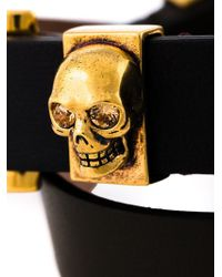 Alexander McQueen | Red Double Wrap Skull Bracelet | Lyst
