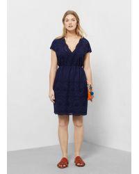 Violeta by Mango Blue Openwork Cotton Dress