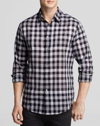 John Varvatos   Black Check Roll-tab Woven Shirt for Men   Lyst