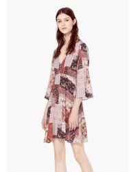 Mango - Red Flowy Printed Dress - Lyst