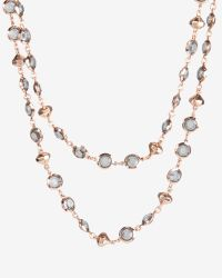 Ted Baker Black Long Crystal Row Necklace