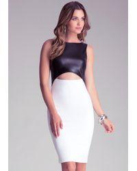 Bebe White Colorblock Midi Dress
