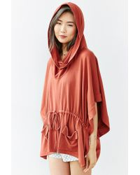 Silence + Noise | Red Maddox Draped Poncho Top | Lyst