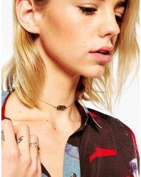 ASOS - Black Stone Choker Necklace - Lyst