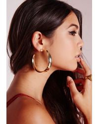 Missguided - Metallic Retro Gold Hoops - Lyst