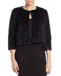 Calvin Klein | Black Cropped Faux-fur Jacket | Lyst