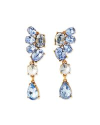 Oscar de la Renta - Blue Asymmetric Crystal Earrings - Lyst