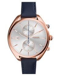 Fossil - Metallic 'land Racer' Chronograph Leather Strap Watch - Lyst