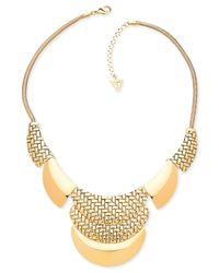 Guess | Metallic Basket Weave Bib Necklace | Lyst