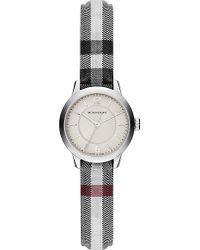 Burberry - Gray Bu10200 Classic Round Leather Watch - Lyst