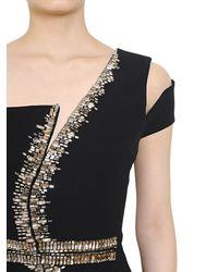 Antonio Berardi Black Swarovski Embellished Viscose Cady Dress
