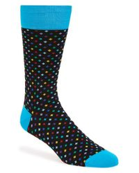 Bugatchi | Blue 'mini Diamond' Mercerized Cotton Blend Socks for Men | Lyst