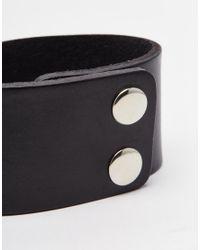 ASOS | Smart Leather Cuff Bracelet In Black for Men | Lyst