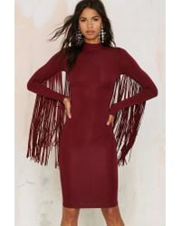 Nasty Gal - Red Under Your Wing Mock Neck Dress - Lyst