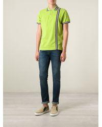 Etro Green Striped Polo Shirt for men