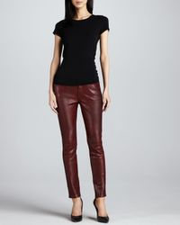 7 For All Mankind Red Pieced Leather Slim Illusion Skinny Jeans Plum