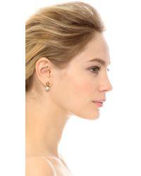 Tory Burch Metallic Evie Drop Earrings - Ivory/shiny Gold