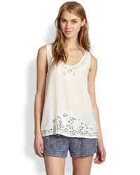 Joie | White Maurizia Embroidered Cutout Silk Tank Top | Lyst