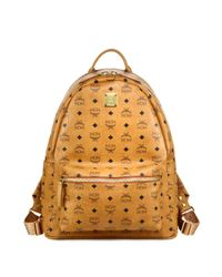 MCM | Brown Stark Coated Canvas Monogram Backpack for Men | Lyst