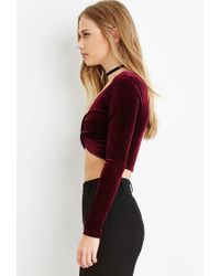 Forever 21 | Purple Velvet Twisted-front Crop Top | Lyst