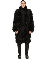 Yves Salomon - Black Lamb Shearling Coat for Men - Lyst