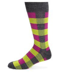 Saks Fifth Avenue | Pink Merino Wool-blend Checkered Socks for Men | Lyst