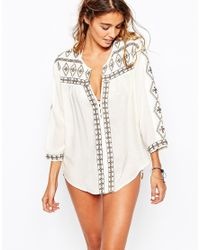 Melissa Odabash - Natural Milly Beach Shirt With Patterned Trim - Lyst