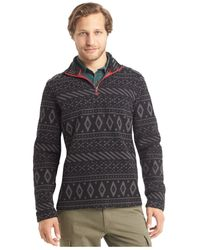 G.H. Bass & Co. | Gray Printed Quarter-zip Mock-neck Arctic Fleece for Men | Lyst