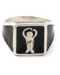 Societe Anonyme - Black Polished Logo Signet Ring - Lyst