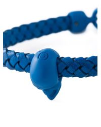 Alexander McQueen Blue Woven Skull Bracelet for men