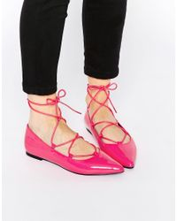 ASOS | Pink Lyric Lace Up Ballet Flats | Lyst