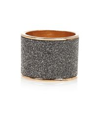 River Island - Gray Gold Tone Grey Glittery Ring - Lyst