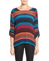 Plenty by Tracy Reese Multicolor Crepe Roll-tab Sleeve Top